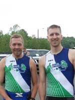 Coach Mike with private BarryS Coaching client Neil pre-race